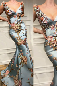 Sexy Deep V Collar Embroidery Floral Printed Maxi Dress