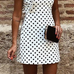 Fashion One Shoulder Dot Flouncing Shift Mini Dress Bodycon Dress
