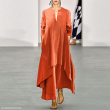 Load image into Gallery viewer, Casual Cotton/Linen V Collar Autumn Maxi Dress Vintage Dress