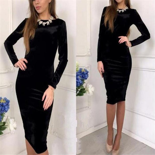 Elegant Fashion Sexy Slim Plain Round Neck Long Sleeve Bodycon Dress