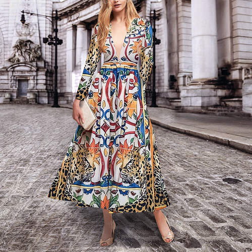 Elegant Fashion Slim Floral Deep V Collar Long Sleeve Maxi Dress