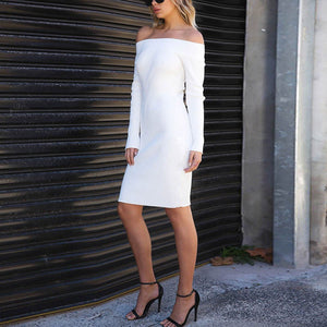Sexy White Long Sleeves Plain Off Shoulder Bodycon Dress
