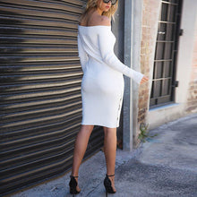 Load image into Gallery viewer, Sexy White Long Sleeves Plain Off Shoulder Bodycon Dress