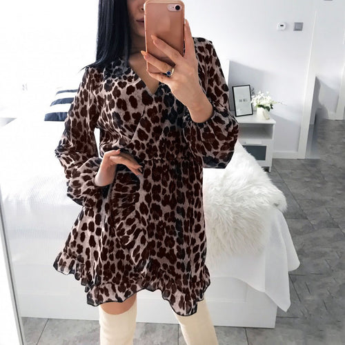 Fashion Leopard Print V Neck Casual Dress
