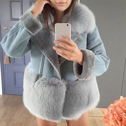 Stitching Fur Long Sleeve Outerwear Coat