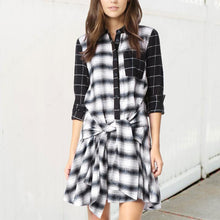 Load image into Gallery viewer, Fashion Sexy Plaid Long Sleeve Casual Dress