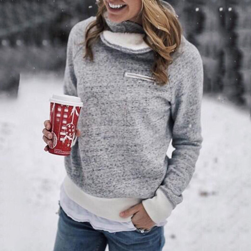 Fashion Plain Long Sleeve Top Sweatshirts