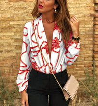 Load image into Gallery viewer, Sexy Deep V Print   Long-Sleeved Fashion Blouse Shirt