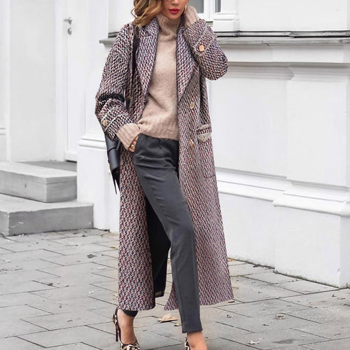 Woman Casual Loose Houndstooth Woolen Long   Outwear Coat