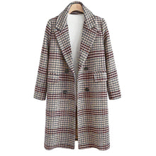 Load image into Gallery viewer, Fashion Plaid Windbreaker Long Lapels Coat