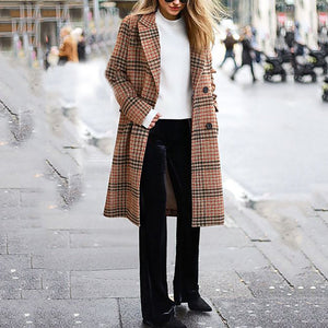 Fashion Plaid Windbreaker Long Lapels Coat