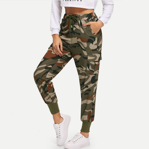 Fashion Camouflage Elastic Waist  Casual Pants