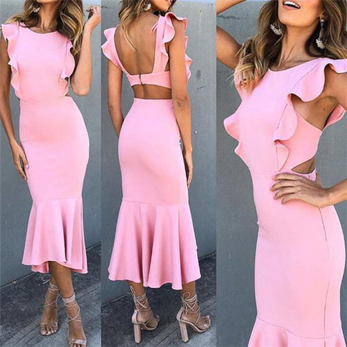 Fashion Plain Slim Flouncing Defined Waist Fishtail Maxi Dress