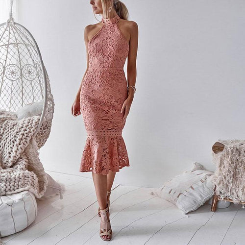 Sexy Plain Lace Slim Fishtail Evening Dress