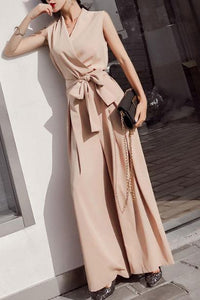 Fashion V Collar Plain Sleeveless Bow Wide Leg Jumpsuit