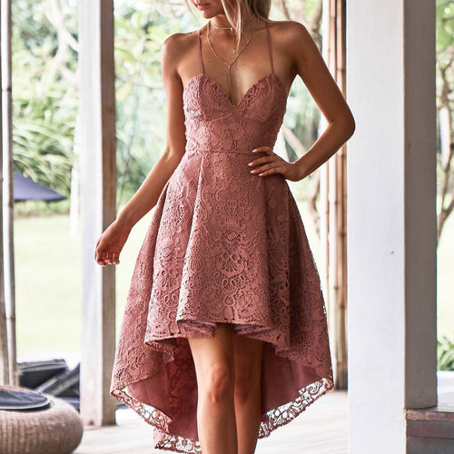 Sexy Off Shoulder Plain Lace Asymmetrical Evening Dress