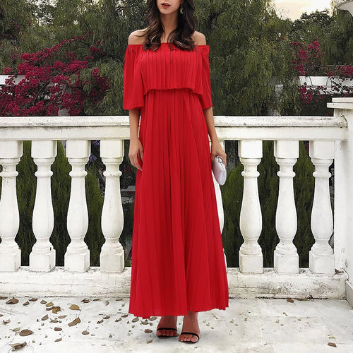 Off The Shoulder Pleated Swing Maxi Evening Dress