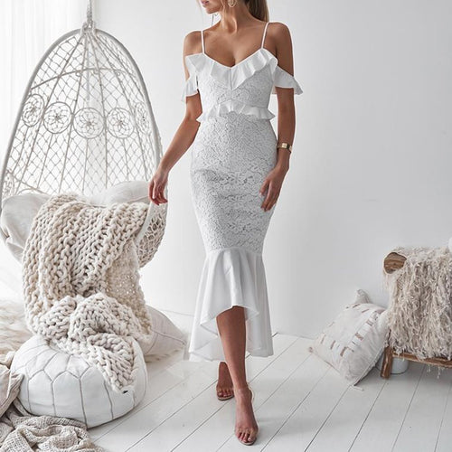Spaghetti Strap Ruffle Lace Fishtail Evening Dress