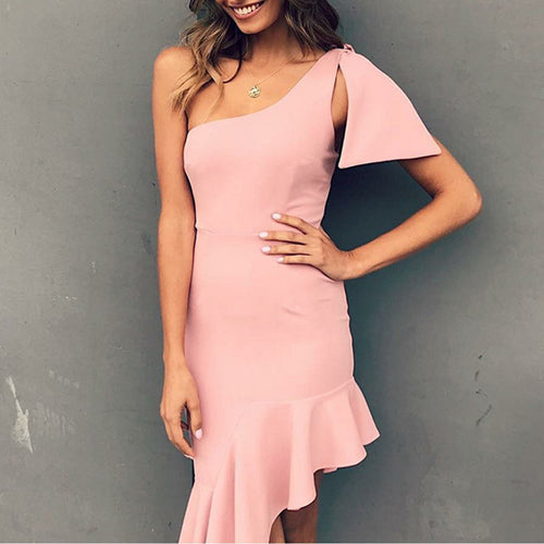 Cold Shoulder Bodycon Vacation Ruffle Dress
