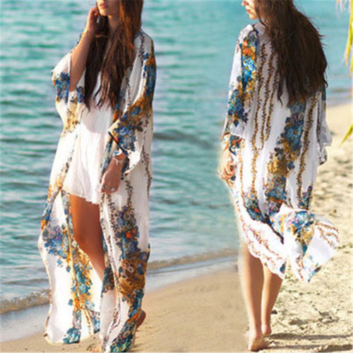 Casual Loose Floral Printed Chiffon Long Cardigan