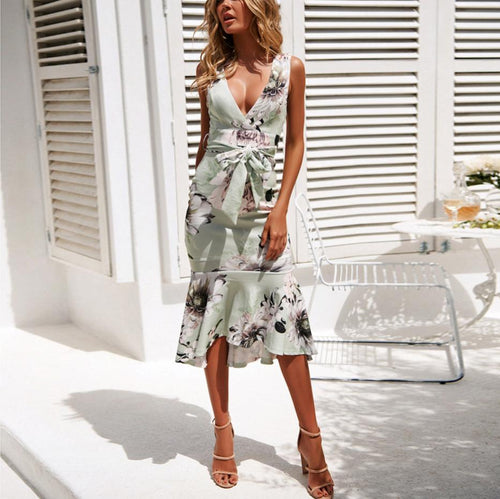 Sexy Slim Pack Hip V-Neck Sleeveless Print Ruffle Dress