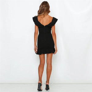 Sexy V Collar Ruffled Neckline Lower Hem Slim Dress