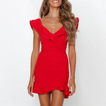 Load image into Gallery viewer, Sexy V Collar Ruffled Neckline Lower Hem Slim Dress