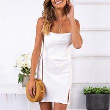 Load image into Gallery viewer, Fashion Solid Color Fork Sexy Shoulder Straps Dress