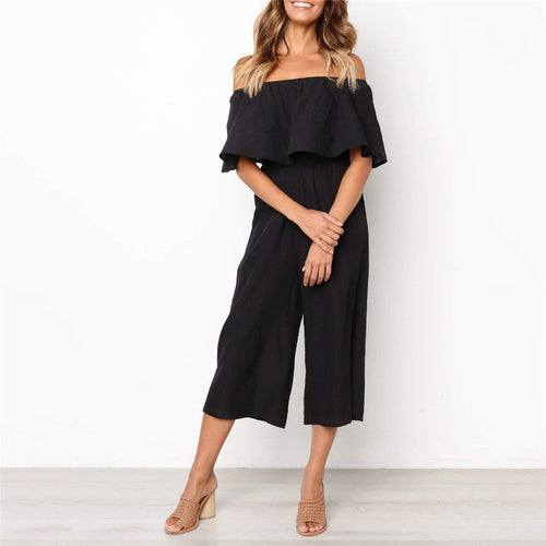 Fashion Off Shoulder Solid Color Falbala Jumpsuits