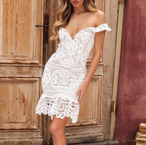 Sexy Openwork Wrapped Chest Lace Hip Party Dress