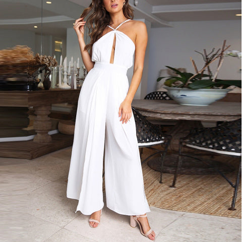 Sexy Fashion Suspenders Open Back Solid Color Tie Loose Loose Jumpsuit