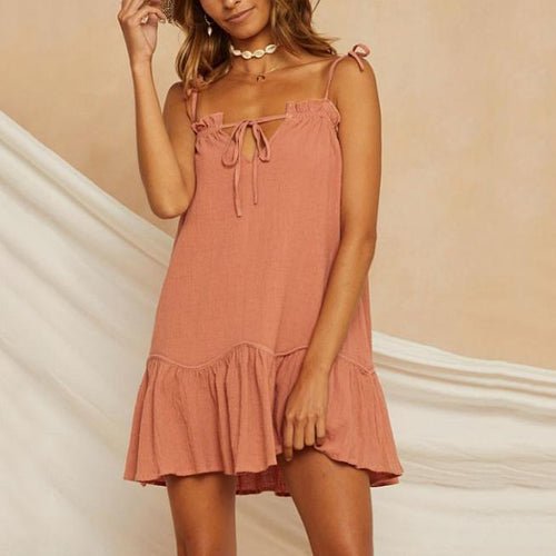 Casual Solid Color Cotton And Linen Sling Ruffled Dress