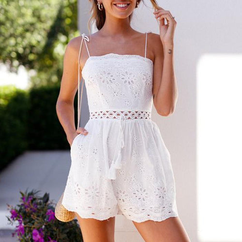 Fashion Solid Color Cotton And   Linen Embroidered Short Jumpsuit