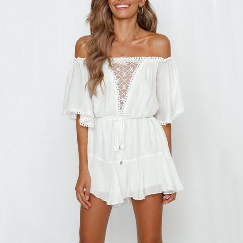 Sexy Word Shoulder Lace   Stitching V-Neck Short Jumpsuit