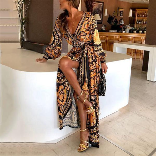 Early Autumn Long Sleeve V-Neck Floral Print Maxi Dress Vacation Dress
