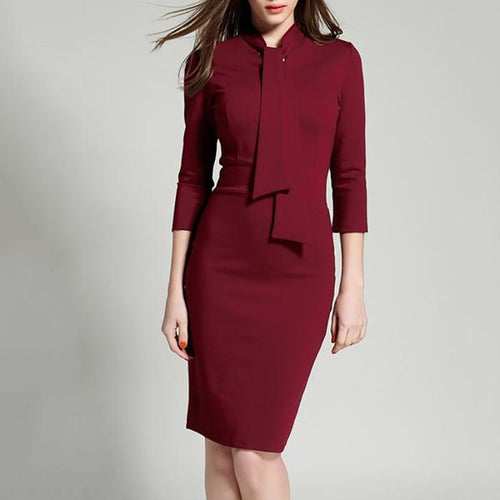 Women Office Tie Collar Plain Bodycon Dress
