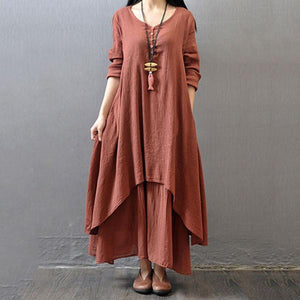 V-Neck Solid Double Layer Maxi Dress Vintage Dress