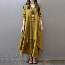 Load image into Gallery viewer, V-Neck Solid Double Layer Maxi Dress Vintage Dress