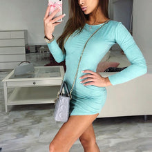 Load image into Gallery viewer, Fashion Plain Long Sleeve Bodyon Dress