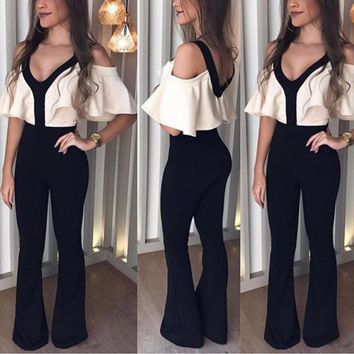 Sexy V-Neck Slimming Jumpsuit