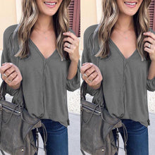 Load image into Gallery viewer, Fashion V Collar Plain Loose Puff Sleeve Flimsy Shirt