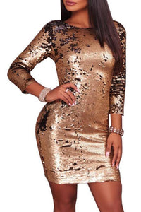 Gold Sequins Slim Party Evening Dress Bodycon Dress