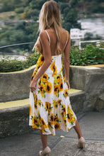 Load image into Gallery viewer, Sexy Yellow Floral Print Maxi Dress