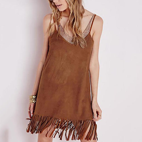 Slim Sexy Backless Tassel Suede V-Neck Sling Mini Casual Dress