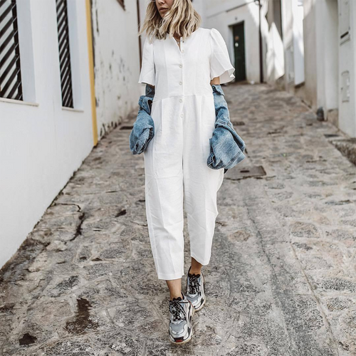 Short Sleeve Casual Loose Button Jumpsuit