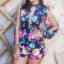 Load image into Gallery viewer, Stylish Cut Out Front Slit Sleeve Print Rompers