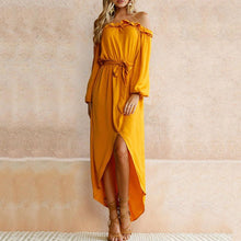 Load image into Gallery viewer, Off Shoulder  Asymmetric Hem Elastic Waist  Belt  Plain Maxi Dresses