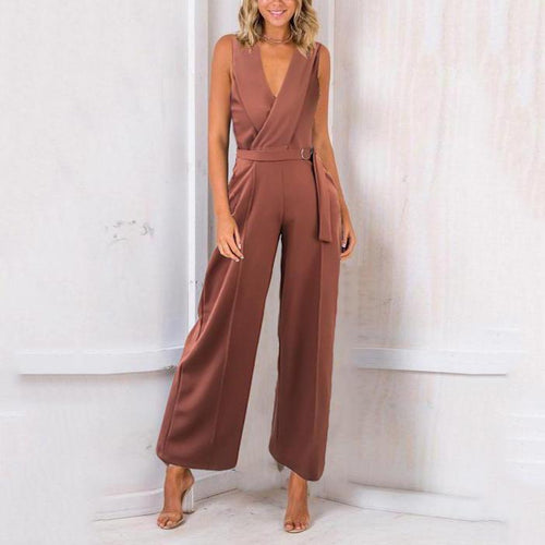 Sleeveless V-Neck Elegant Wide-Leg Trousers Jumpsuit
