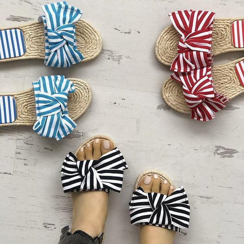 Fashion Pure Color Sandals With Bow-Knot
