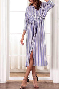 Fashion Stripe Long Sleeves Maxi Dress